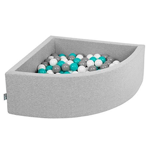 KiddyMoon 90X30cm/200 Balles Piscine À Balles ∅ 7Cm pour Bébé Quart Angulaire Fabriqué en UE, Gris Clair: Gris/Blanc/Turquoise