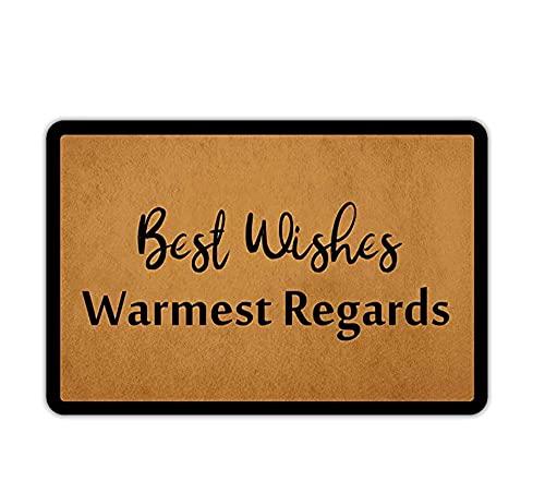 Felpudo de bienvenida para puerta de entrada, diseño de los mejores deseos más cálidos saludos para puerta delantera para pasillo