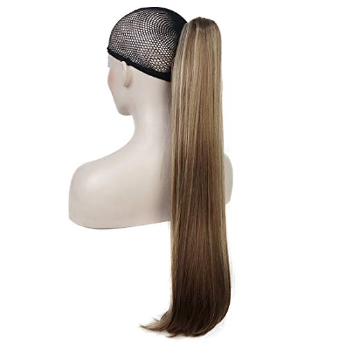 "Lydell 24"" Long Straight Styled Clip In Claw Ponytail Hairpiece Synthetic Hair Extension with a jaw/claw clip (12TT26 Light Brown with Highlights)"