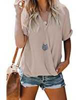 Asyoly Elegant Woman Blouses Short Sleeve Wrap V Neck Loose Draped Elegant Sexy Blouses for Women Summer and Spring Color Pink Size S