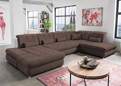 lifestyle4living Wohnlandschaft (XXL) mit Schlaffunktion & Bettkasten, Braun, Microfaser   Gemütliches U-Sofa mit Kopfstützen- & Armlehnen- & Sitztiefenverstellung