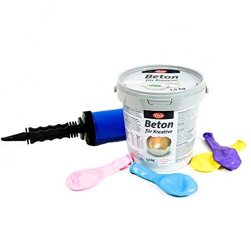 1,5 kg Beton im Ballon Set für kreative Windlichter mit Ballon-Pumpe und Luftballone, Luftballons