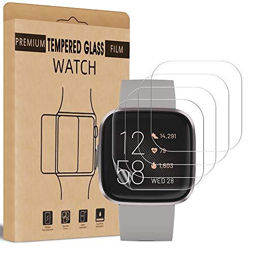 wsky 4 Stück Schutzfolie kompatibel mit Fitbit Versa 2 Panzerglas, Ultra Klar HD Flexible TPU Folie, Blasenfrei Anti-Scratch Displayschuzfolie