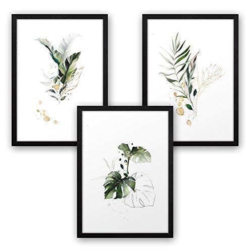 3-teiliges Premium Poster-Set | Kunstdruck | Botanik grün | Blätter | Deko Bild für Ihre Wand | optional mit Rahmen | Wohnzimmer Schlafzimmer Modern Fine Art | DIN A4 / A3 (A4, schwarzer Rahmen)