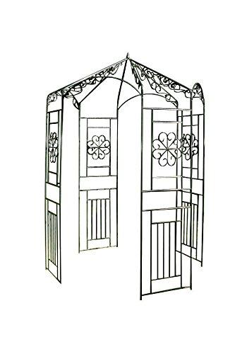 CLP Arco jardín/Pabellón de jardín de Hierro, diámetro Ø 160 cm, Altura 259 cm, Muy Estable, Soporte para Enredaderas y trepadoras Verde