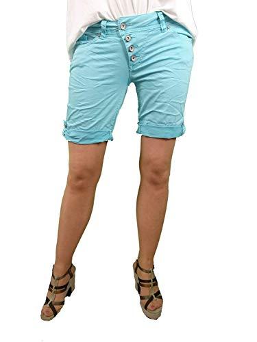 Buena Vista   Damen Sommer Shorts  farbige Bermuda   Malibu   Stretch Twill   Kurze Hose zum krempeln Angel Blue S