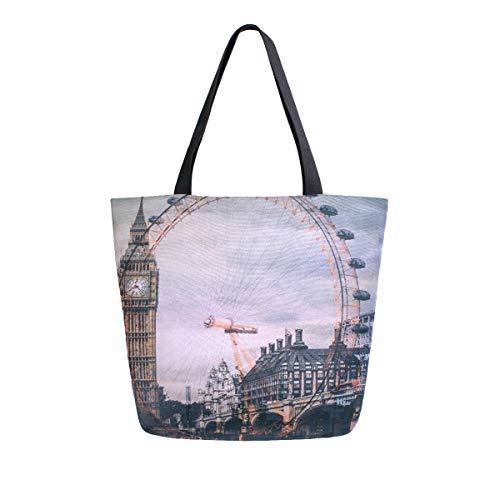BIGJOKE Sac fourre-tout en toile avec motif anglais London Eye Big Ben UK pour femme - Sac à main réutilisable - Sac de rangement portable pour les courses en plein air.