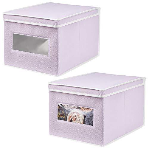 mDesign Juego de 2 Cajas de Tela – Práctico Organizador de armarios con Tapa para Dormitorio, salón o baño – Caja de almacenaje apilable de Fibra sintética Transpirable – Lila Claro/Blanco