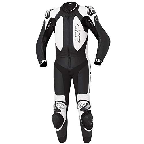 Held 2-teiliger Anzug YAGUSA aus Känguruleder und Rindsleder, schwarz-weiß, Sicherheitsnähte, Steißbeinschutz und SAS-TEC Rückenprotektor 56