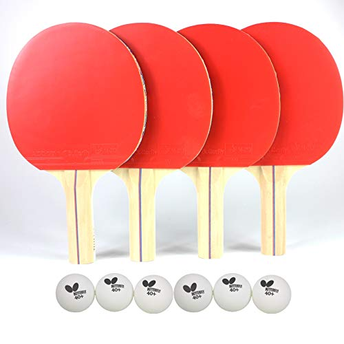 Butterfly RDJ Player Ping Pong Paddle Set – Includes Ping Pong Rackets and Ping Pong Balls – Choose Ping Pong Paddle Set of 2 or 4 – Table Tennis Racket Set