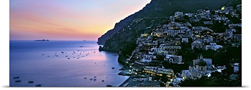 "GREATBIGCANVAS Entitled Buildings lit up at Night, Positano, Amalfi, Amalfi Coast, Campania, Italy Poster Print, 60"" x 20"", Multicolor"