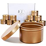 Zenjevie Candle Tins - 12 Pack - 8 oz Empty Candle Jars with Lids - 3-Inch Seamless Decorative Gold Metal Containers for DIY Candle Making, Arts & Crafts Supplies, Small Item and Trinket Storage, Gift