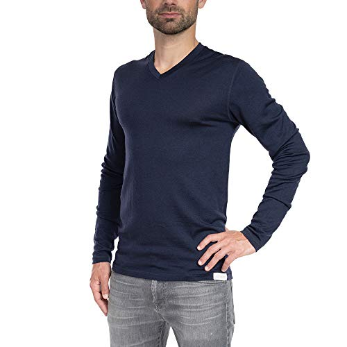 Woolly Clothing Men's Merino Wool Long Sleeve V-Neck Shirt - Everyday Weight - Wicking Breathable Anti-Odor M CHR Charcoal