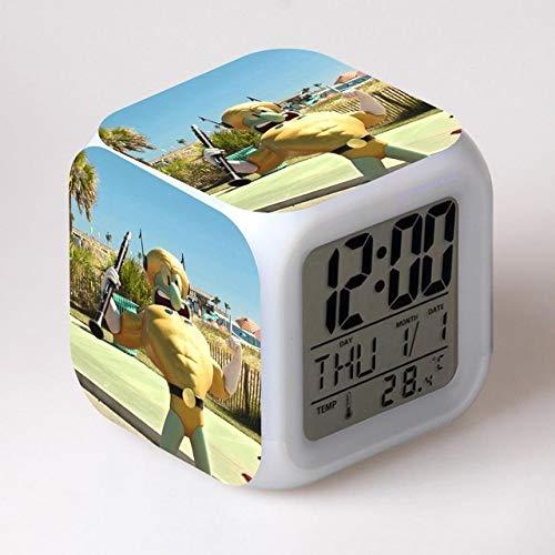 shiyueNB Spons van water 3D wekker LCD-scherm tijd dag datum maand LED 7 kleuren licht veranderen meer stijl