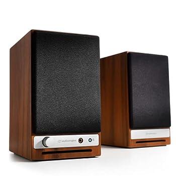 Audioengine HD3 Wireless Speaker   Desktop Monitor Speakers   Home Music System aptX HD Bluetooth 60W Powered Bookshelf Stereo Speakers AUX Audio USB RCA Inputs/Outputs 24-bit DAC  Walnut
