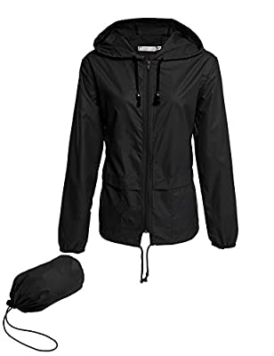Avoogue Lightweight Raincoat Walking Jackets Women's Waterproof Windbreaker Packable Outdoor Hooded Fall Rain Jacket Black L