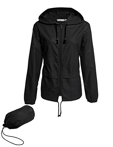 Avoogue Lightweight Raincoat Climbing Jackets Women's Waterproof Windbreaker Packable Outdoor Hooded Fall Rain Jacket Black XL
