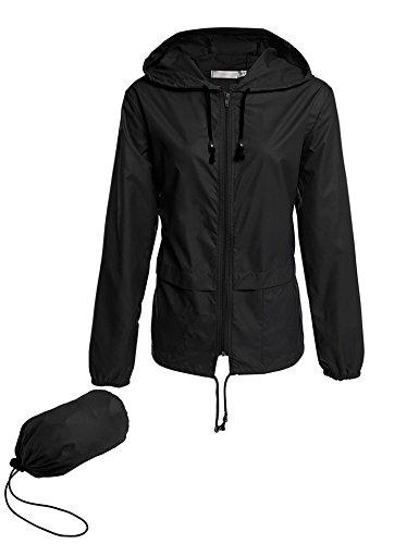 Besshopie Windbreaker Packable Waterproof Jacket, Women's Drawstring Hoodie Ponchos Casual Rain Coat XL Black
