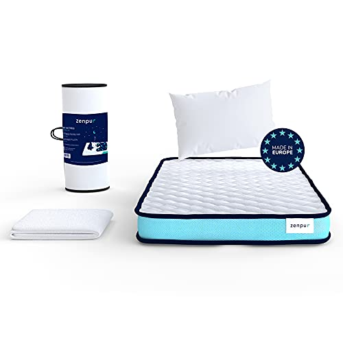ZenPur Colchón de Cuna 60 x 120 cm Viscoelástica para Bebés y Niños - Tecnología Eliocell 23D Core - 30 Noches de Prueba - 2 Años de Garantía