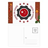 National Stars Cog Red Chinese Christmas Candle Greeting Postcard Congrats Mailing Card