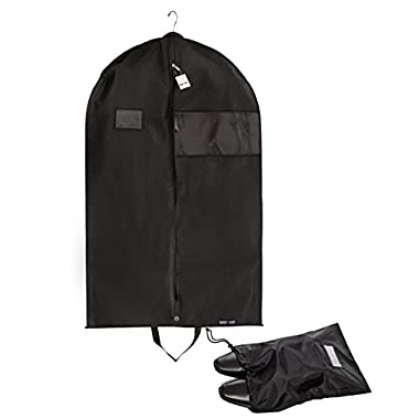 "Bag For Less PREMUIM QUALITY Black Garment Bag +Shoe Bag. Travel And Storage Breathable Bag 26""x42""x5"" With Zipper & Metal Eyehole And Carry Handles For Folding For Suits, Tuxedos, Dresses"