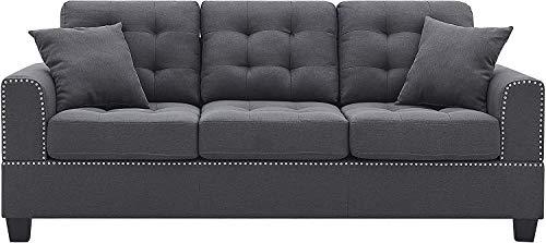 Dongbin Modernes Design 3-Sitzer-Schlafsofa Mit Kissen Inklusive Wohnzimmer Wohnzimmer Luxus-Leinenmischsofa 204x88x90cm (Gray,2 Seater)