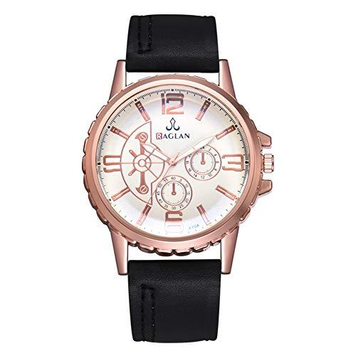 cloudbox Reloj de cuarzo para hombre, correa de poliuretano, reloj de cuarzo, estilo casual, exquisito, negro, para hombres