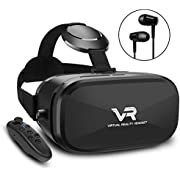 3D VR Brille, YEMENREN HD Virtual Reality 3D VR Headset mit Bluetooth Controller, für Android Smartphone iPhone (Schwarz)