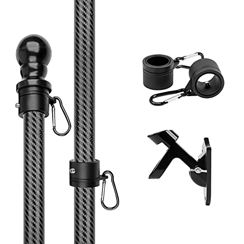 HIBLE Flag Pole 5FT Flagpole Sturdy Carbon Fiber Flag Pole for House Garden Yard Tangle Free Wall Mounted Flag Pole for Residential and Commercial (Black Flag Pole with Bracket and No Tangle Rings)