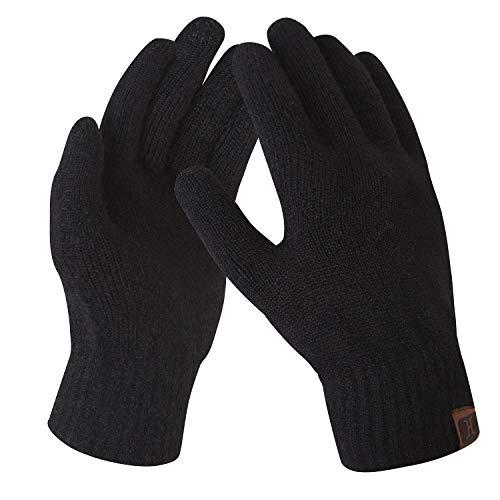 Bequemer Laden Damen Winter Warme Touchscreen Handschuhe Gedehnt Kaschmir Magie Handschuh Fleece Stretch Strick Dicke Handschuhe Outdoor Winterhandschuhe für Frauen, Schwarz, Einheitsgröße