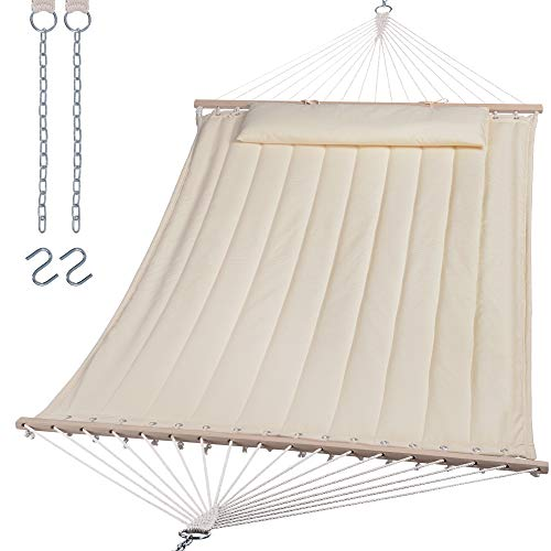 SUNCREAT Double Hammock for 2 Person, Extra Large Outdoor Portable Hammock with Hardwood Spreader Bar, Soft Pillow, 450 lbs Capacity, White