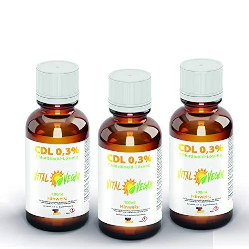 Vital Vegan CDL 300ml - 3 x 100ml CDL Chlordioxidlösung - CDS in Braunglasflasche - CDL 0,3% aus HDPE Tröpfchendosierer – CDL Tropfen nach Originalrezeptur hergestellt in Deutschland