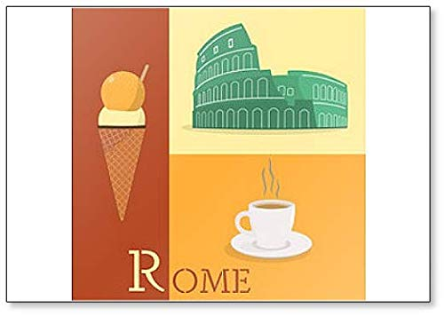 Laten we naar Rome gaan. Colosseum, Beker van Koffie en IJs Koelkast Magneet