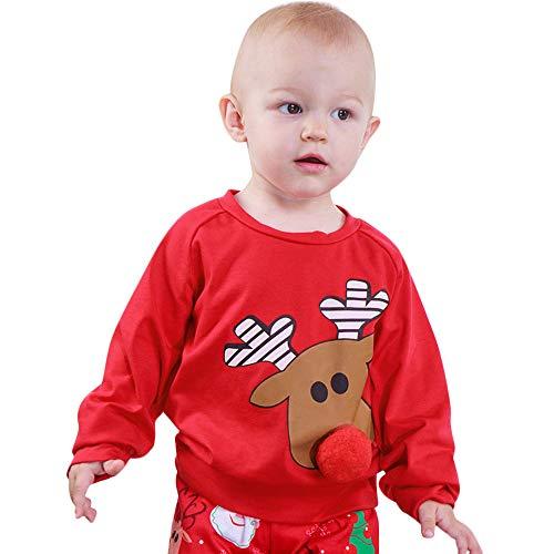 Mbby Felpe Bambina Natale 1-3 Anni Bimba Ragazze E Ragazzi Maglietta Renna Stampe Girocollo Manica Lunga Invernali Autunno Caldo Natalizio Pullover Maglione Felpa