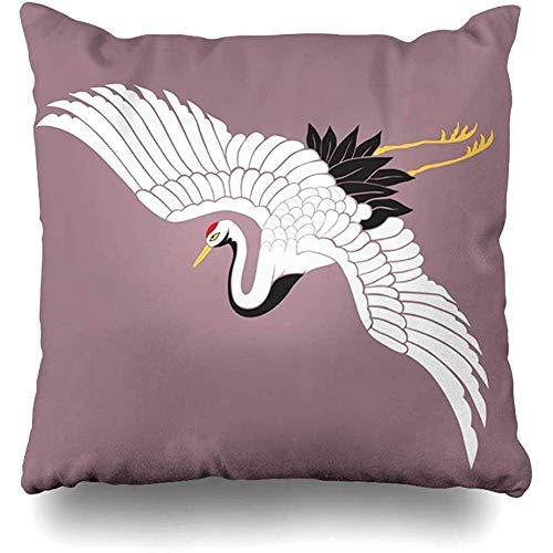 Throw Pillow Case 45x45 cm Kimono Japanese White Flying Modern Crane Animals Wedding Tancho Uchikake Bird Redcrowned Wildlife Cushion Cover