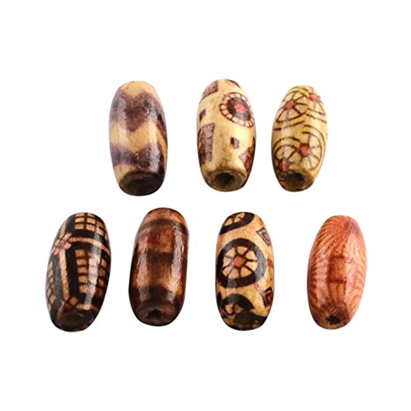 NBEADS 1000g Printed Wood Beads, Oval, Mixed Color, 15x7mm, Hole: 3mm; About 4165pcs/1000g
