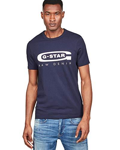 G-STAR RAW Graphic Logo 4 Camiseta, Azul, X-Large (Talla del Fabricante:) para Hombre