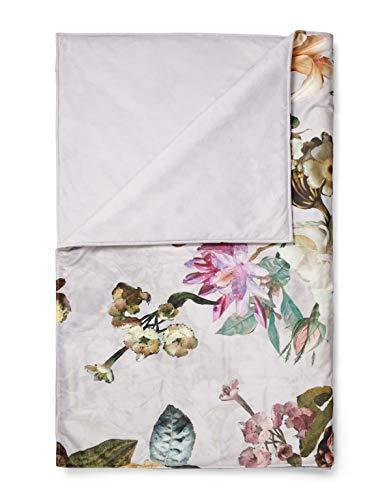 ESSENZA Quilt Fleur Blumen Pfingstrosen Tulpen Polyester Grau, 135x170 cm