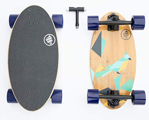 quality longboards Summit Board Co Short Longboard Skateboard Deck with Precision Bearings and Rugged Wheels for Beginners and Experienced Skaters, Wide Mini Balanced Design
