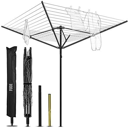 FUDE Rotary Clothes Airer Dryer Washing Line 50m Outdoor Garden 4 Arm folding Rotary Washing Lines with Free Metal Ground Spike and Cover(Black)
