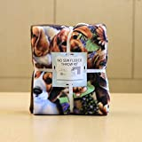 Dogs on Dogs Anti-Pill No-Sew Throw Fleece Fabric Kit (50x60)