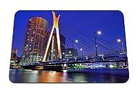 22cmx18cm マウスパッド (日本東京首都圏高層ビル住宅夜の橋ライト川青い空) パターンカスタムの マウスパッド