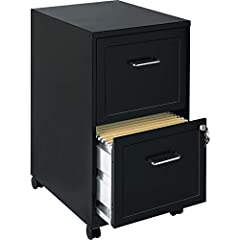 "Material : Steel Cabinet Accommodates letter-size hanging files Designed with stylish embossed drawer fronts and easy roll casters Smooth suspension with three-quarter drawer extension Product Dimensions are 14.3""WIDTH x 18""DEPTH x 24.5"" HEIGHT"