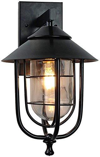 GDSKL Lámpara de Pared Al Aire Libre Lluvia Downlight Luz de Noche,Retro Industria Estilo por por Balcón Cafetería Corredor Destacar WENXU/Negro / 21×37.5cm