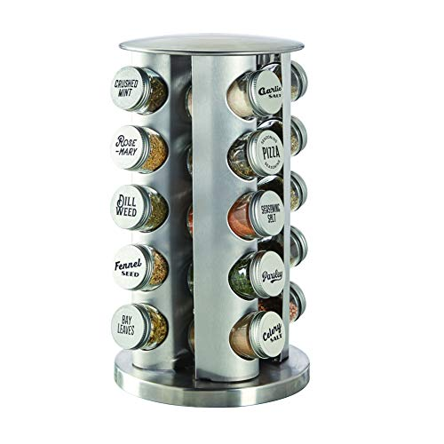Kamenstein Revolving 20-Jar Countertop Rack Tower Organizer with Stainless Caps and Free Spice Refills for 5 Years, Silver/Silver