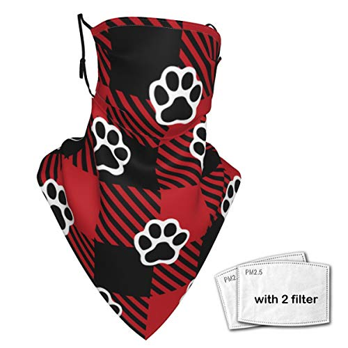 Dog Paw Print Neck Gaiter Face Scarf Bandanas Wind Sun Protection, Multi-Purpose Cloth mask Balaclava for Outdoor Hiking Cycling Running