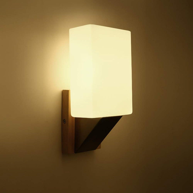 Wandleuchte Loft,Moderne minimalistische Holz Glas Wandlampe Hotelzimmer LED Wandlampe Schlafzimmer Nachtwandlampe