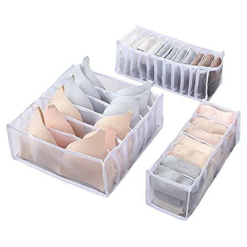 Caja de almacenamiento de ropa interior de 1/3 piezas, utilizada para calcetines, sujetadores, ropa interior, armario de partición de tela tipo cajón, organizador de celosía (Blanco)