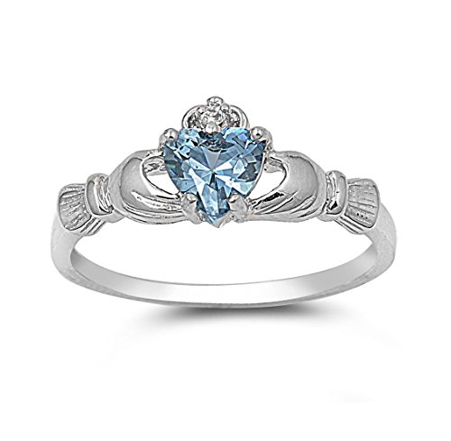CloseoutWarehouse Simulated Aquamarine Cubic Zirconia - Sterling Silver Claddagh Benediction Ring Available in Colors