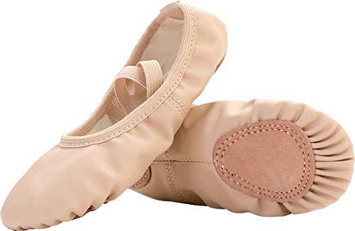 JIASUQI Kleine Kinder Tanzen Socken Ballett Yoga Gymnastik Schuhe Beige, 34 EU